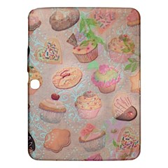 French Pastry Vintage Scripts Cookies Cupcakes Vintage Paris Fashion Samsung Galaxy Tab 3 (10.1 ) P5200 Hardshell Case