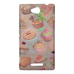 French Pastry Vintage Scripts Cookies Cupcakes Vintage Paris Fashion Sony Xperia C (S39h) Hardshell Case
