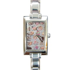 French Pastry Vintage Scripts Floral Scripts Butterfly Eiffel Tower Vintage Paris Fashion Rectangular Italian Charm Watch