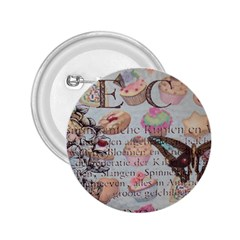 French Pastry Vintage Scripts Floral Scripts Butterfly Eiffel Tower Vintage Paris Fashion 2.25  Button