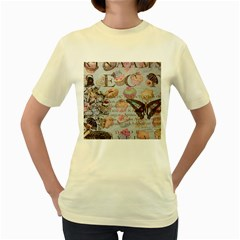 French Pastry Vintage Scripts Floral Scripts Butterfly Eiffel Tower Vintage Paris Fashion  Womens  T-shirt (Yellow)