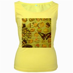French Pastry Vintage Scripts Floral Scripts Butterfly Eiffel Tower Vintage Paris Fashion Womens  Tank Top (Yellow)