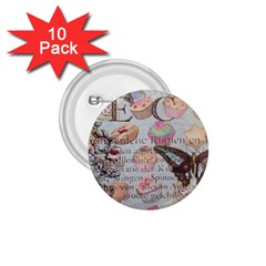 French Pastry Vintage Scripts Floral Scripts Butterfly Eiffel Tower Vintage Paris Fashion 1.75  Button (10 pack)
