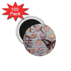 French Pastry Vintage Scripts Floral Scripts Butterfly Eiffel Tower Vintage Paris Fashion 1 75  Button Magnet (100 Pack)