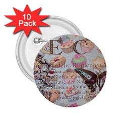 French Pastry Vintage Scripts Floral Scripts Butterfly Eiffel Tower Vintage Paris Fashion 2 25  Button (10 Pack)