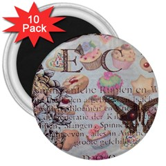 French Pastry Vintage Scripts Floral Scripts Butterfly Eiffel Tower Vintage Paris Fashion 3  Button Magnet (10 Pack)