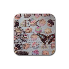 French Pastry Vintage Scripts Floral Scripts Butterfly Eiffel Tower Vintage Paris Fashion Drink Coaster (Square)