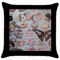 French Pastry Vintage Scripts Floral Scripts Butterfly Eiffel Tower Vintage Paris Fashion Black Throw Pillow Case
