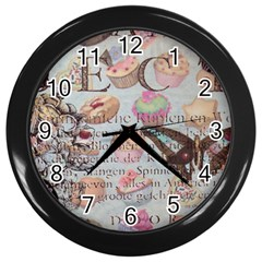 French Pastry Vintage Scripts Floral Scripts Butterfly Eiffel Tower Vintage Paris Fashion Wall Clock (Black)