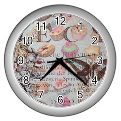French Pastry Vintage Scripts Floral Scripts Butterfly Eiffel Tower Vintage Paris Fashion Wall Clock (Silver)