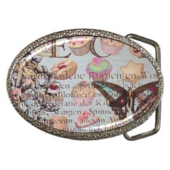 French Pastry Vintage Scripts Floral Scripts Butterfly Eiffel Tower Vintage Paris Fashion Belt Buckle (Oval)