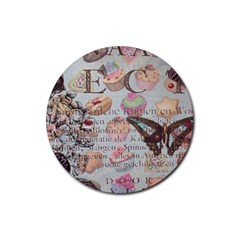French Pastry Vintage Scripts Floral Scripts Butterfly Eiffel Tower Vintage Paris Fashion Drink Coaster (round)