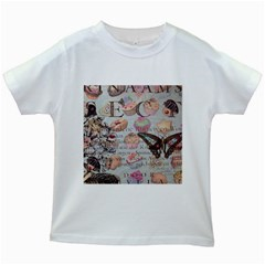 French Pastry Vintage Scripts Floral Scripts Butterfly Eiffel Tower Vintage Paris Fashion Kids' T-shirt (White)