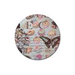 French Pastry Vintage Scripts Floral Scripts Butterfly Eiffel Tower Vintage Paris Fashion Magnet 3  (round)