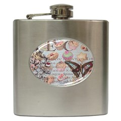 French Pastry Vintage Scripts Floral Scripts Butterfly Eiffel Tower Vintage Paris Fashion Hip Flask