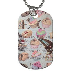 French Pastry Vintage Scripts Floral Scripts Butterfly Eiffel Tower Vintage Paris Fashion Dog Tag (Two-sided)