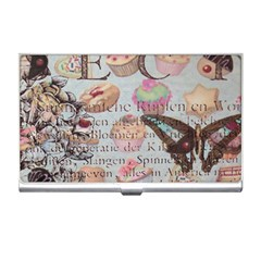 French Pastry Vintage Scripts Floral Scripts Butterfly Eiffel Tower Vintage Paris Fashion Business Card Holder