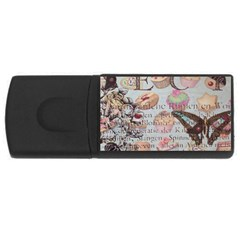 French Pastry Vintage Scripts Floral Scripts Butterfly Eiffel Tower Vintage Paris Fashion 2GB USB Flash Drive (Rectangle)
