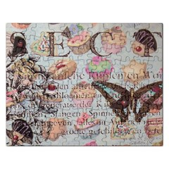 French Pastry Vintage Scripts Floral Scripts Butterfly Eiffel Tower Vintage Paris Fashion Jigsaw Puzzle (Rectangle)