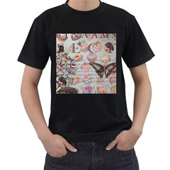 French Pastry Vintage Scripts Floral Scripts Butterfly Eiffel Tower Vintage Paris Fashion Mens' Two Sided T-shirt (Black)
