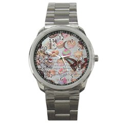 French Pastry Vintage Scripts Floral Scripts Butterfly Eiffel Tower Vintage Paris Fashion Sport Metal Watch