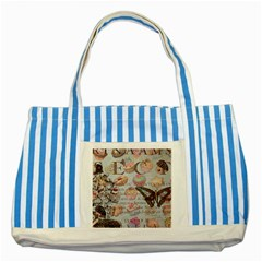French Pastry Vintage Scripts Floral Scripts Butterfly Eiffel Tower Vintage Paris Fashion Blue Striped Tote Bag