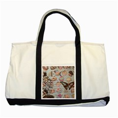French Pastry Vintage Scripts Floral Scripts Butterfly Eiffel Tower Vintage Paris Fashion Two Toned Tote Bag