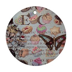 French Pastry Vintage Scripts Floral Scripts Butterfly Eiffel Tower Vintage Paris Fashion Round Ornament (two Sides)