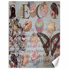 French Pastry Vintage Scripts Floral Scripts Butterfly Eiffel Tower Vintage Paris Fashion Canvas 12  X 16  (unframed)