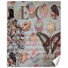 French Pastry Vintage Scripts Floral Scripts Butterfly Eiffel Tower Vintage Paris Fashion Canvas 16  X 20  (unframed)