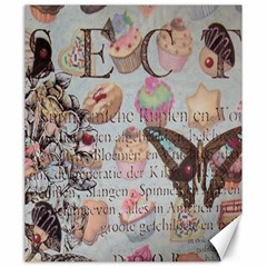 French Pastry Vintage Scripts Floral Scripts Butterfly Eiffel Tower Vintage Paris Fashion Canvas 20  x 24  (Unframed)
