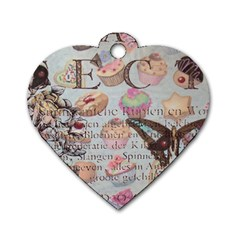 French Pastry Vintage Scripts Floral Scripts Butterfly Eiffel Tower Vintage Paris Fashion Dog Tag Heart (two Sided)