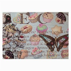 French Pastry Vintage Scripts Floral Scripts Butterfly Eiffel Tower Vintage Paris Fashion Glasses Cloth (Large)