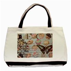 French Pastry Vintage Scripts Floral Scripts Butterfly Eiffel Tower Vintage Paris Fashion Twin Sided Black Tote Bag