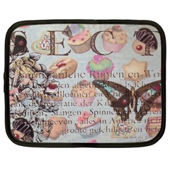 French Pastry Vintage Scripts Floral Scripts Butterfly Eiffel Tower Vintage Paris Fashion Netbook Case (Large)