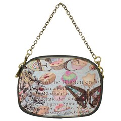 French Pastry Vintage Scripts Floral Scripts Butterfly Eiffel Tower Vintage Paris Fashion Chain Purse (One Side)