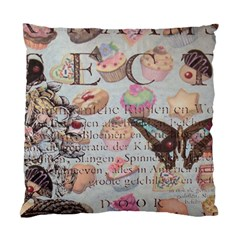 French Pastry Vintage Scripts Floral Scripts Butterfly Eiffel Tower Vintage Paris Fashion Cushion Case (Single Sided)