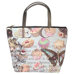 French Pastry Vintage Scripts Floral Scripts Butterfly Eiffel Tower Vintage Paris Fashion Bucket Bag