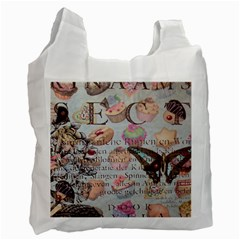 French Pastry Vintage Scripts Floral Scripts Butterfly Eiffel Tower Vintage Paris Fashion Recycle Bag (two Sides)