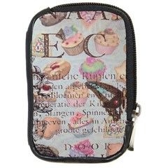 French Pastry Vintage Scripts Floral Scripts Butterfly Eiffel Tower Vintage Paris Fashion Compact Camera Leather Case