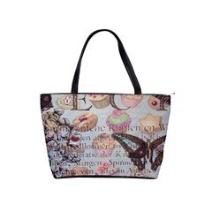 French Pastry Vintage Scripts Floral Scripts Butterfly Eiffel Tower Vintage Paris Fashion Large Shoulder Bag