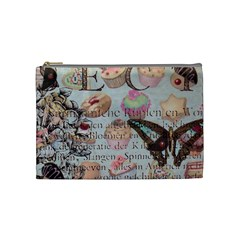 French Pastry Vintage Scripts Floral Scripts Butterfly Eiffel Tower Vintage Paris Fashion Cosmetic Bag (Medium)