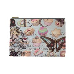 French Pastry Vintage Scripts Floral Scripts Butterfly Eiffel Tower Vintage Paris Fashion Cosmetic Bag (Large)