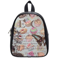 French Pastry Vintage Scripts Floral Scripts Butterfly Eiffel Tower Vintage Paris Fashion School Bag (small)