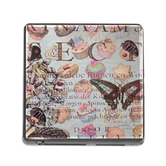French Pastry Vintage Scripts Floral Scripts Butterfly Eiffel Tower Vintage Paris Fashion Memory Card Reader with Storage (Square)