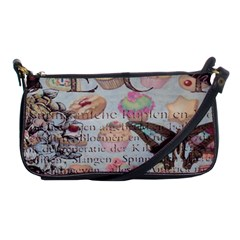 French Pastry Vintage Scripts Floral Scripts Butterfly Eiffel Tower Vintage Paris Fashion Evening Bag