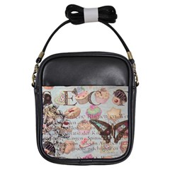 French Pastry Vintage Scripts Floral Scripts Butterfly Eiffel Tower Vintage Paris Fashion Girl s Sling Bag