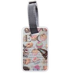 French Pastry Vintage Scripts Floral Scripts Butterfly Eiffel Tower Vintage Paris Fashion Luggage Tag (Two Sides)