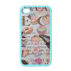 French Pastry Vintage Scripts Floral Scripts Butterfly Eiffel Tower Vintage Paris Fashion Apple iPhone 4 Case (Color)