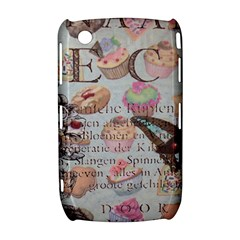 French Pastry Vintage Scripts Floral Scripts Butterfly Eiffel Tower Vintage Paris Fashion BlackBerry Curve 8520 9300 Hardshell Case
